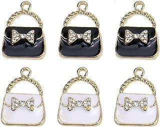 Monrocco 20Pcs Enamel Handbag Charm Handbag Purse Charm for Jewelry Making Bracelet Necklace (Black, White)