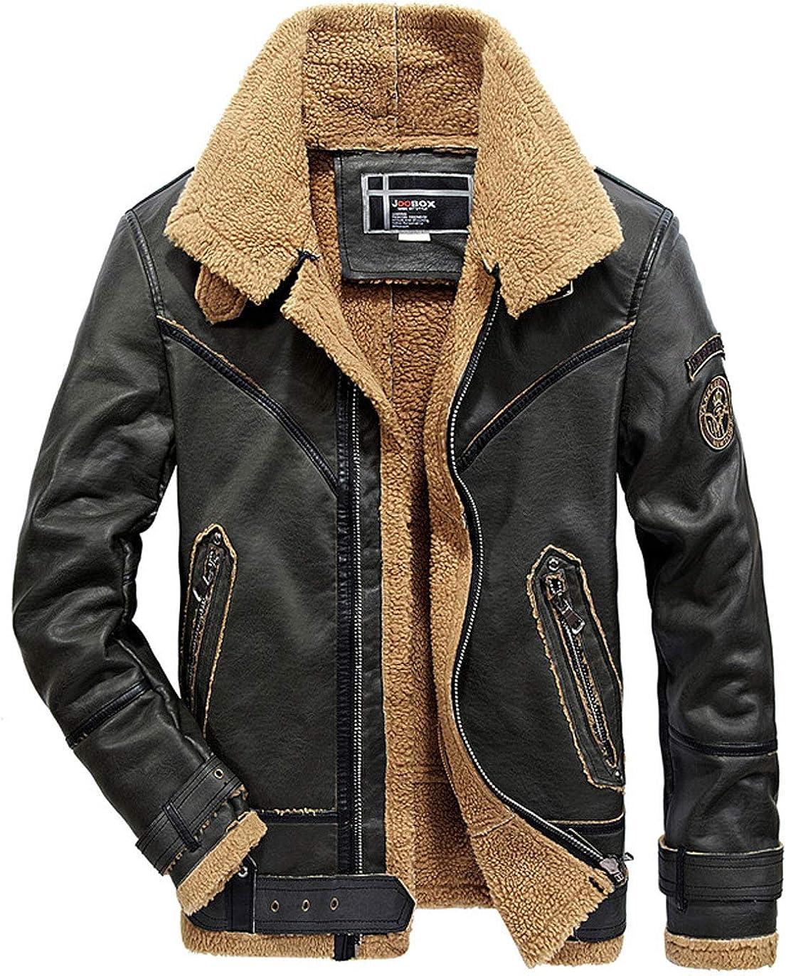 ebossy Men's Zip Up Belted Collar Shearling Faux Leather Biker Jacket