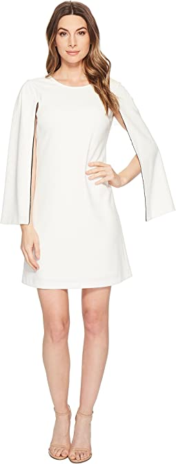 Crepe Shift Dress with Long Sleeve Slit Detail