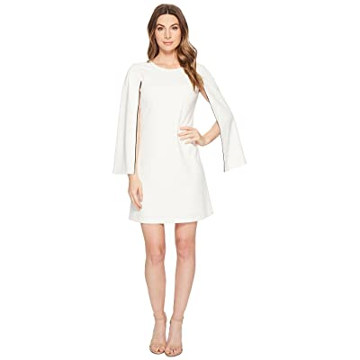 Donna Morgan Crepe Shift Dress with Long Sleeve Slit Detail (Ivory) Women