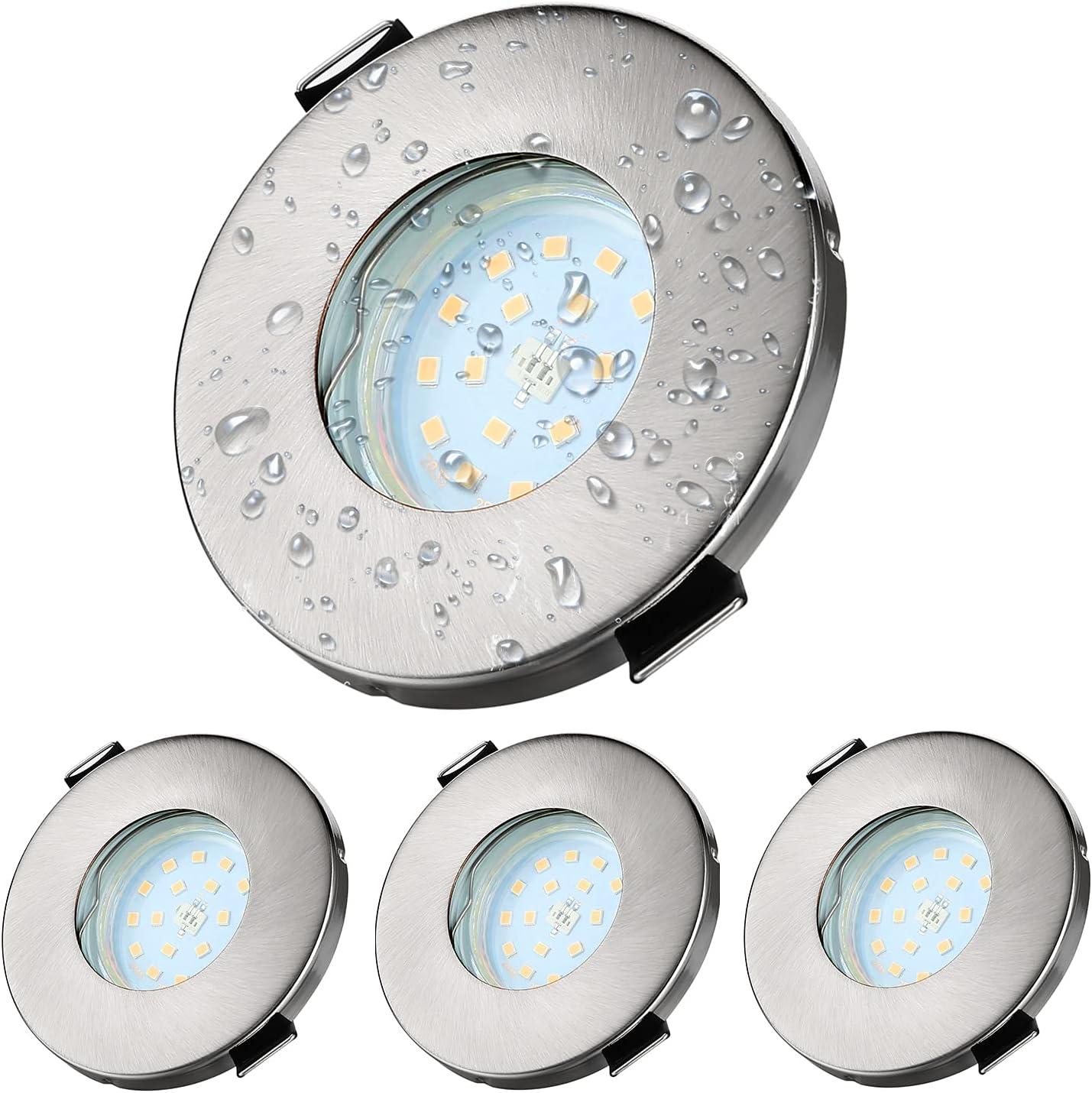Kambo Focos Empotrables GU10 LED de baño 6W Equivalente a Incandescente 50W, Ø55-80mm profundidad 80mm Blanco Neutro 4500K IP44 540Lm, Metal en Níquel Color, Marco Redondo AC 230V 4 piezas