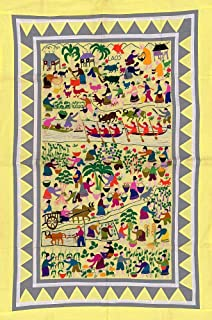 Hmong Pictorial Story map Shows Figures, Humans, Animals, Plants, and Geographical Images of Everyday Life in a Village or Farm in Laos, Cambodia, Thailand, Vietnam & Mekong River Region