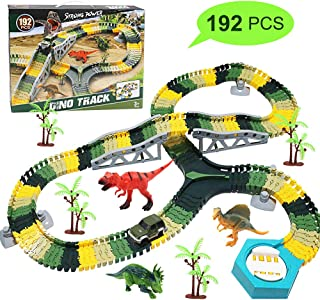 Dinosaur Toys Train Tracks Car Toy Set-192pcs Flexible Trains Tracks Playset Gifts Dinosaur Figures, Perfect Birthday Toys for 3 4 5 6 Year Old Boys and Girls Kids, with 3 Dinosaurs, 1 Race Cars