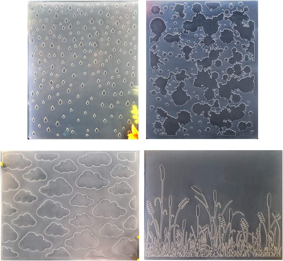 Kwan Some reservation Crafts 4 Outlet sale feature pcs Different Style Grass Raindrop Ink Cloud Plast