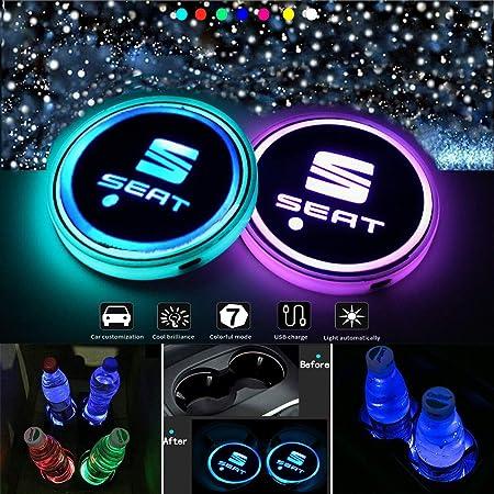 J Mosuya Wasserdicht Getränkehalter Auto Led Untersetzer 7 Farben Usb Lade Becherhalter Lumineszenz Getränke Halter Led Innenbeleuchtung Auto Atmosphäre Lampe Licht S Auto