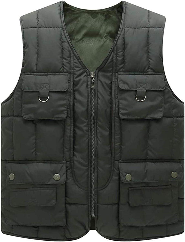 Men's Casual Outdoor Fleece Lined Quilted Alternative Down Vest Jacket