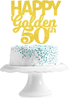 Happy Golden 50th Birthday Cake Topper - 50 Birthday Gold Glitter Cake Topper - Cheers To Fabulous Fifty Birthday Party De...