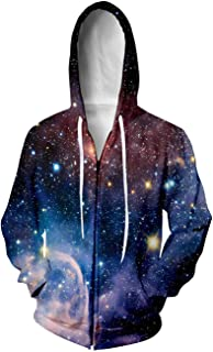 Unisex Cool 3D Digital Printed Full Zip Hoodies Jacket Sweatshirts with Big Pockets S-2XL