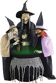 Lonestar Wholesalers 6ft Stitch Witch Sisters Animated Prop Lifesize Halloween Haunted House Cauldron Animatronics
