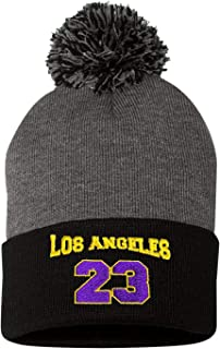 Go All Out Adult Los Angeles 23 Embroidered Knit Beanie Pom Cap
