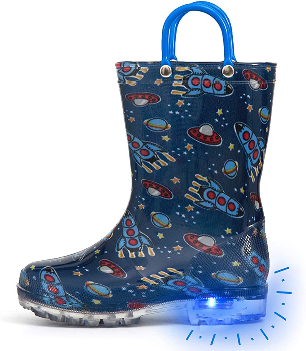 Outee Toddler Kids Adorable Printed Light Up Rain Boots