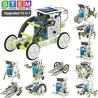POKONBOY 13-in-1 Solar Robot Creation Kit,Educational DIY Robot Kit Solar Powered STEM Robotics Building Kits for Teens Kids to Build Christmas Birthday Gift(190 Pcs)