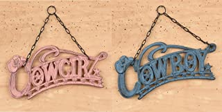Cowboy and Cowgirl hanging cast iron sign set