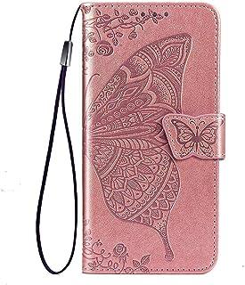 TANYO Flip Folio-fodral för Alcatel 3X 2020, PU/TPU läder plånbok skydd med kontanter och kortfack, premium 3D fjäril tele...