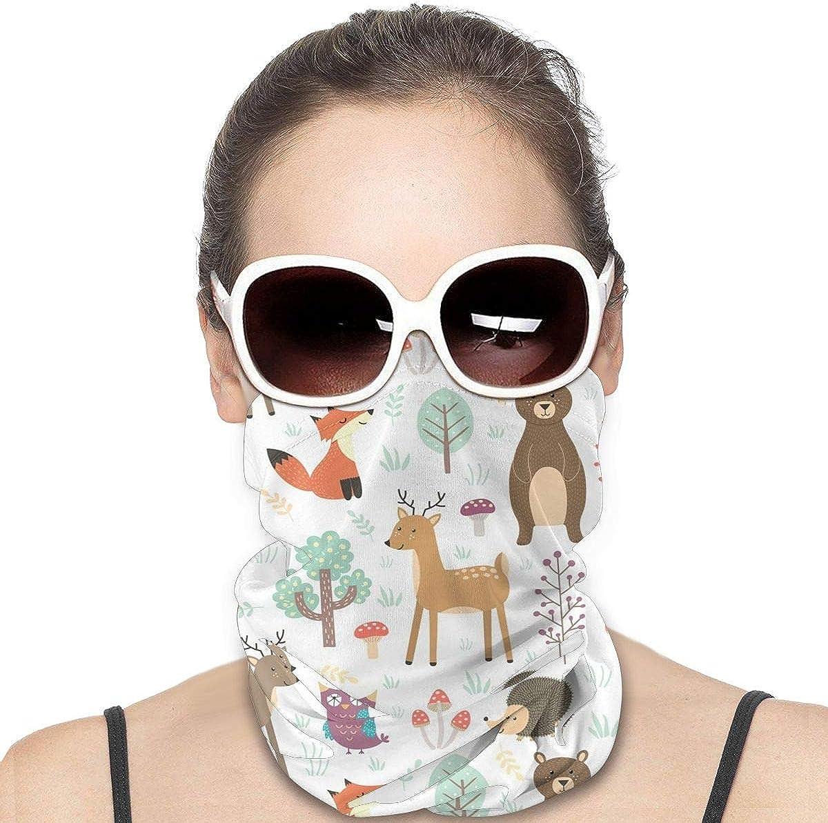 KiuLoam Women Bandanas Face Mask, Forest Cute Animals Neck Gaiter Mask Headband for Men Face Scarf Dust, Outdoors, Sports
