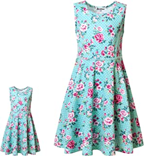 "Jxstar Matching Girls & Doll Flower Dresses Sleeveless Summer 18"" Dolls Clothes"