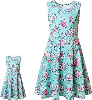 Matching Girls & Doll Flower Dresses Sleeveless Summer 18