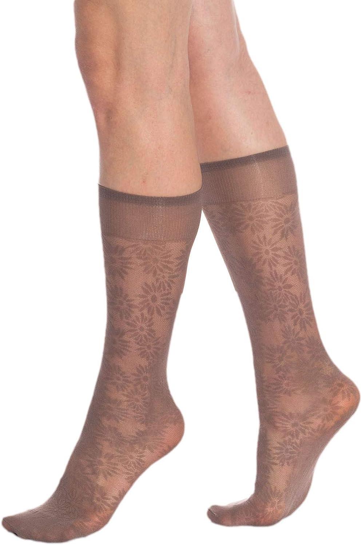 Sheer Knee High Socks for Women 3 Pairs Trouser Socks Stockings Stretchy Silk Socks
