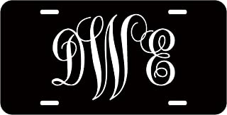 Top Craft Case Personalized Monogram License Plate - White Black Fancy Custom Initials Auto Car Tag