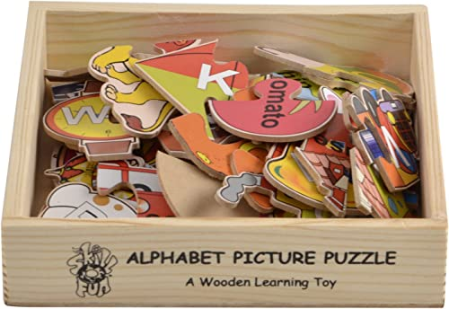 Skillofun - L-55B Wooden Alphabet Picture Puzzle, Multi Color
