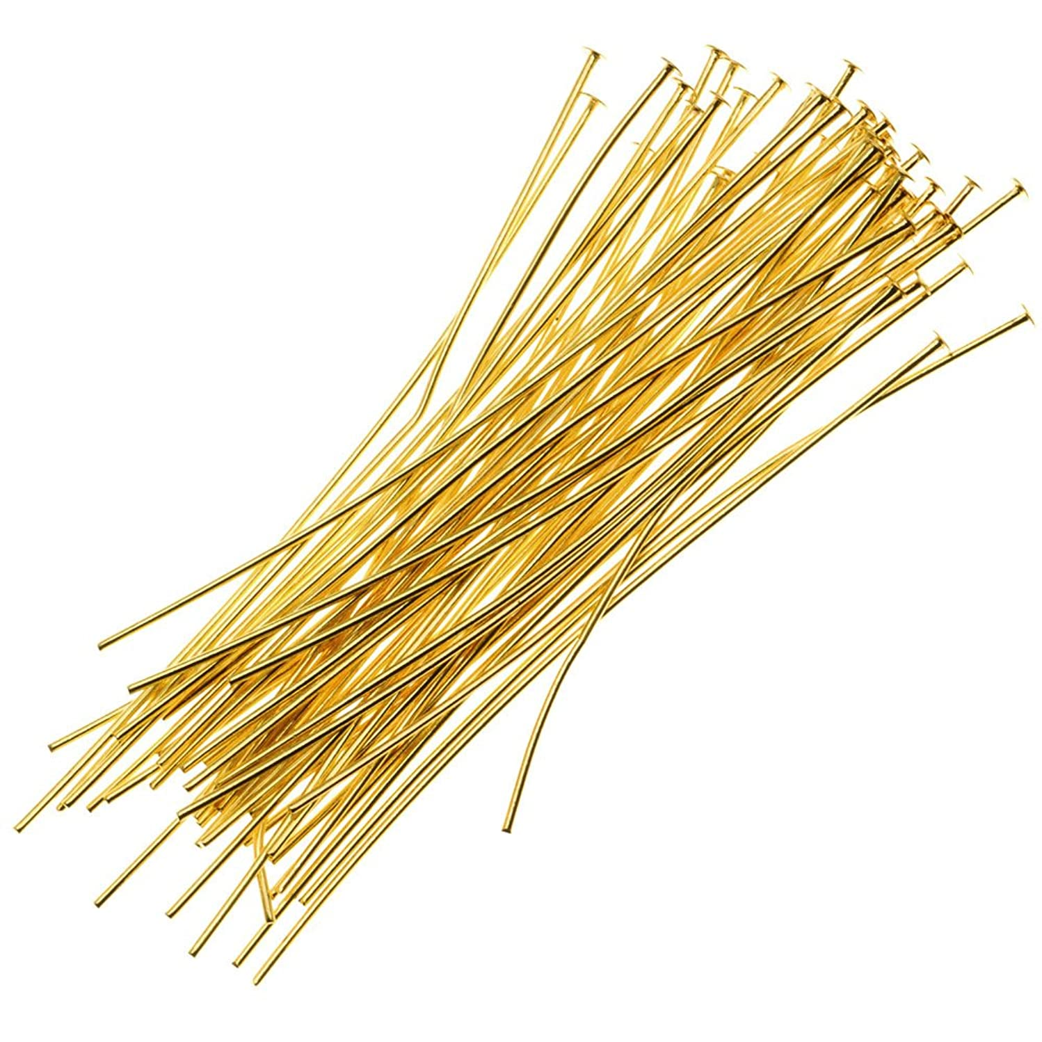 Beadaholique 725A-3.00 25-Piece Brass Tone Head Pins, 22-Gauge, 3-Inch, Gold