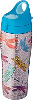 Tervis 1298876 Dragonfly Mandala Stainless Steel Insulated Tumbler with Turquoise Lid, 24oz Water Bottle, Silver