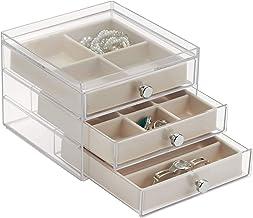 iDesign Plastic 3 Jewelry Box, Compact Storage Organization Drawers Set for Cosmetics, Hair Care, Bathroom, Dorm, Desk, Co...