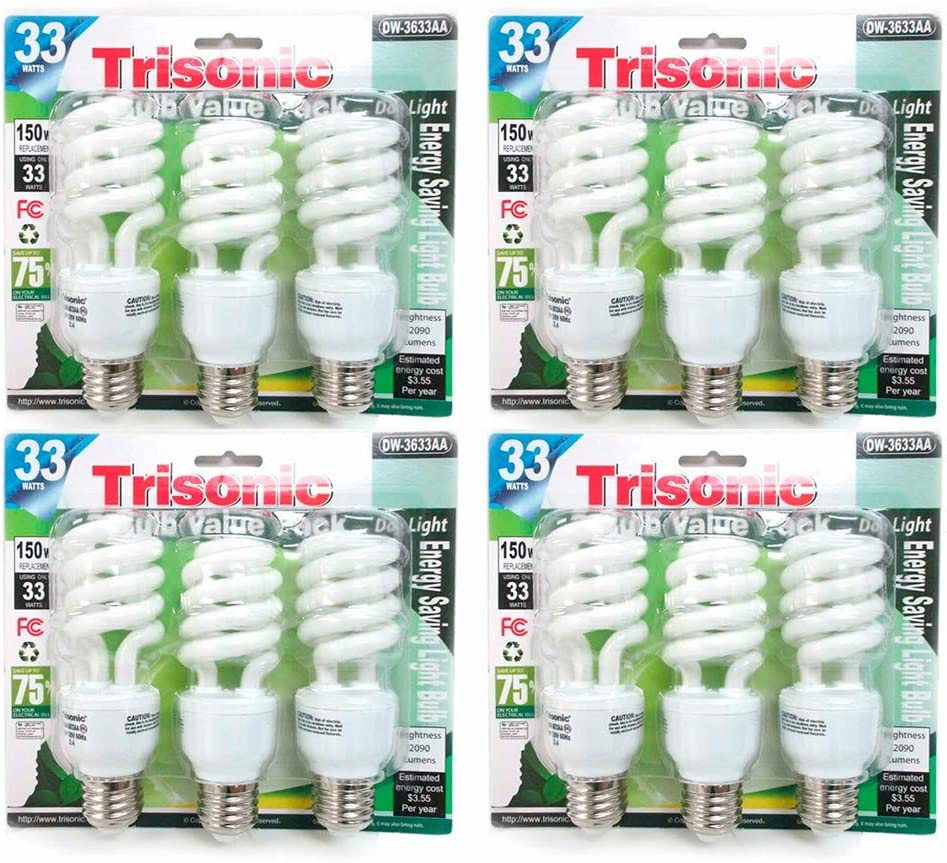 12 PC Daylight Large discharge sale Bulb Light 33 W Energy Watt Comp Output White Genuine 150