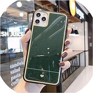 キラキラ星ハート電話ケースfor iphone 11プロマックスXR XSマックス7 8 6 6 sプラスXソリッドカラーソフトエポキシバックカバーギフト,for iphone 11 Pro,Dark Green