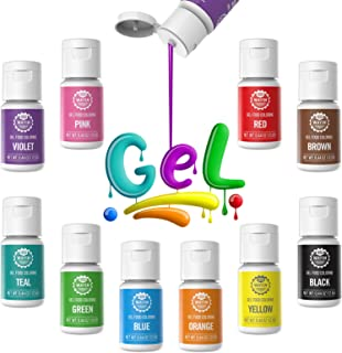 Gel Food Coloring 10x10ml Colors Set - Wayin Gel Based Vibrant Food Color Dye Flavorless Edible Icing Color Concentrated N...