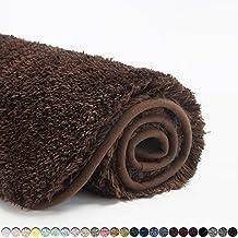 Suchtale Bathroom Rug Non Slip Bath Mat for Bathroom (16 x 24, Brown) Water Absorbent Soft Microfiber Shaggy Bathroom Mat ...