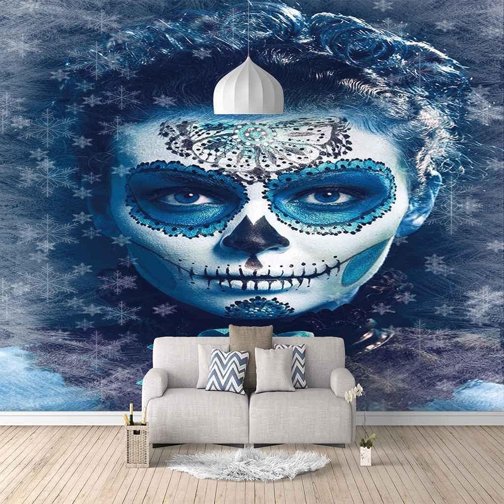 Topics on TV FVGKYS Mural Wallpaper 3D Mail order cheap Abstract Blue Painting Girl Custom Liv