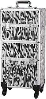 3 In 1 Aluminum Makeup Train Case Professional Cosmetic Box Beauty Tattoo Storage with Folding and Locks Trays Travel Portable (Zebra Print)