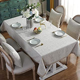 Oblong Table Cloth for Table Cover Tablecloth Cotton and Linen Party Banquet Dining Table Cover White 140X180cm