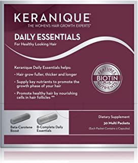 Keranique Daily Essential Supplements for Hair Growth, Healthy and Thick Hair | Contains Vitamin B Complex For Hair Loss, 60 Capsules
