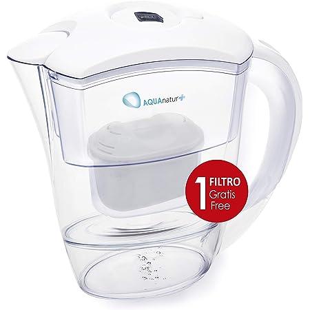 TM Electron TMJAR025WH Carafe d'eau filtrante 2,5 litres + Filtre, Plastique, Blanc, Jarra + Filtro Gratis