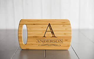 Personalized Cutting Board Wedding Gifts for the Couple - Engraved Cutting Board, Also Bridal Shower Gifts and Mother's Day Gifts (5.5 x 9.5 Bamboo with Easy Carry Handle, Anderson Design)