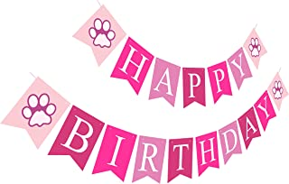 Puppy Happy Birthday Banner | Girl Birthday Sign | Paper Card Stock Bday Party Decoration - Pink