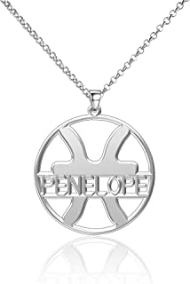 LoEnMe Jewelry Sterling Silver Custom Made Zodiac Signs Pisces Personalized 12Constellations Name Necklace Gift for Women Girls