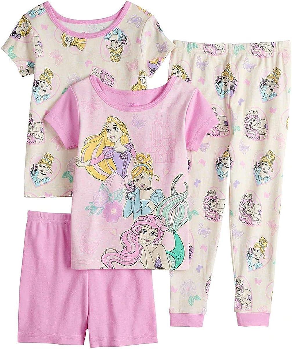 Girl's Princess Ariel, Rapunzel and Cinderella 4-Piece Toddler Pajama Set