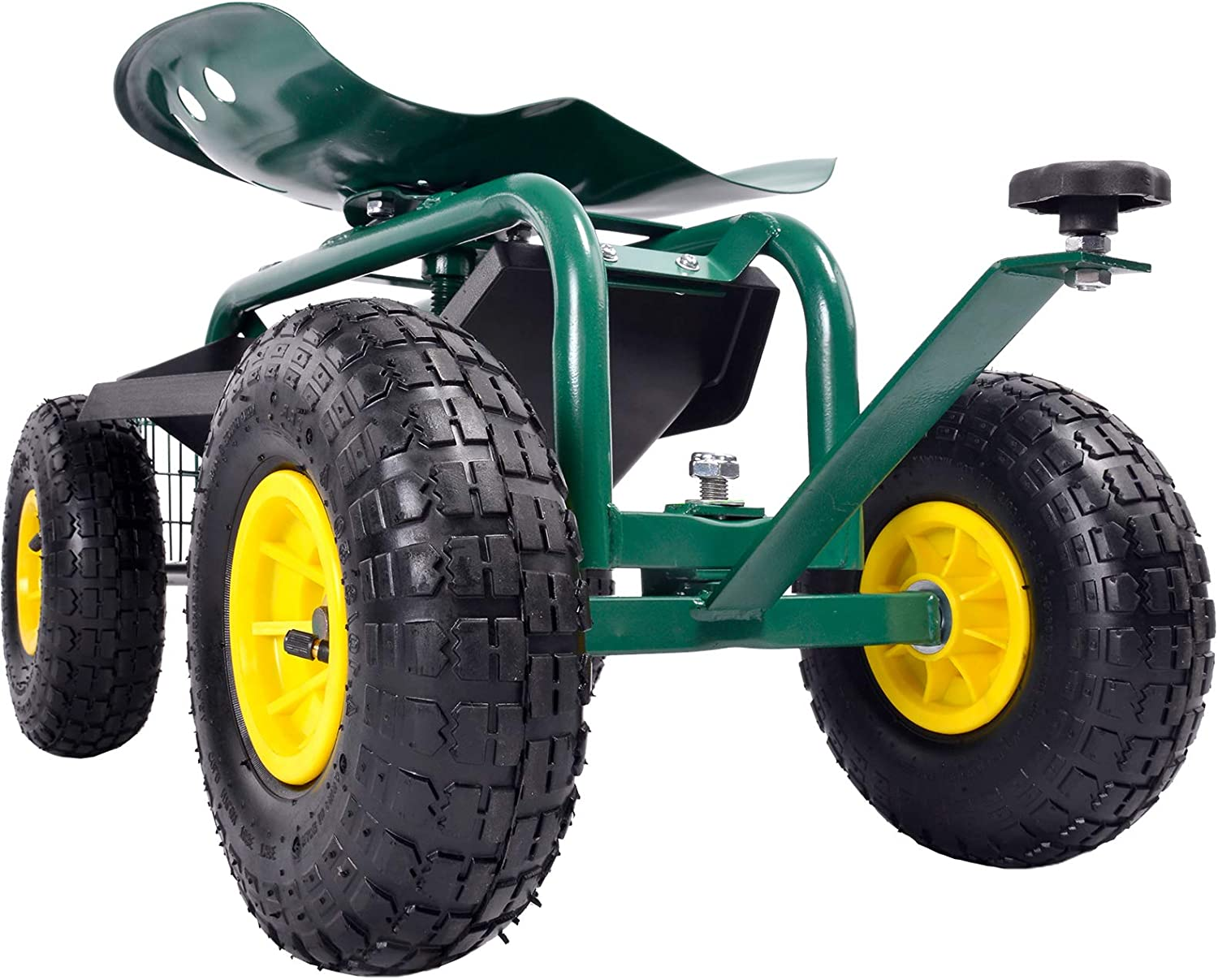 Garden Carts with Seat and Wheels, Garden Carts and Wagons - ANDGOAL 360 Degree Adjustable Garden Cart Rolling with Extendable Steer Handle Heavy Duty Scooter Wagons