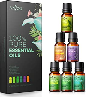 Anjou Essential Oils Set 6-Pack Gift Set Therapeutic Grade 10ml 100% Pure Natural for Aromatherapy Diffuser Skin Care Mass...