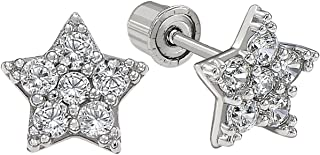 14k Gold Small Star shaped CZ Stud Earrings with Secure Screwbacks
