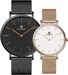 STARKING Women's Minimalist BML0997 Rose Gold Watch Analog Quartz Stainless Steel Mesh Couple Watches