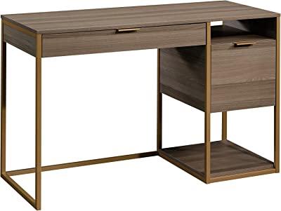 """Sauder International Lux Pedestal Desk, L: 47.48"""" x W: 20.00"""" x H: 29.72"""", Diamond Ash"""