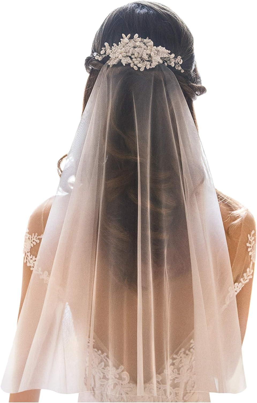White Jasmine Short Off White Ivory Wedding Veil for Brides, 1 Tier Elbow Fingertip, Simple Raw Cut Edge