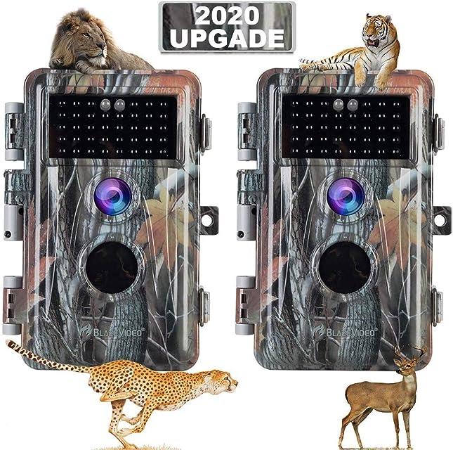 2X Cámara de Caza 1920x1080 Pixel Video 16MP Foto Sensor de Movimiento Activado a Prueba de Agua IP66 con Visión Nocturna 38pcs IR LED de hasta 65 pies 2.4 LCD