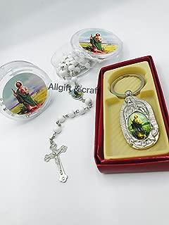 Set Of 24 Baptism First Communion Recuerdos 12pcs Keychain And 12pcs Rosaries San Judas Tadeo baptism favors
