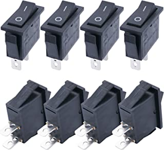 TWTADE / 8Pcs Black On/Off SPST 2 Pin 2 Position Mini Boat Rocker Switch Car Auto Boat Rocker Toggle Switch Snap AC 250V/16A, 125V/20A (Quality Assurance for 1 Years)XW-604BB1