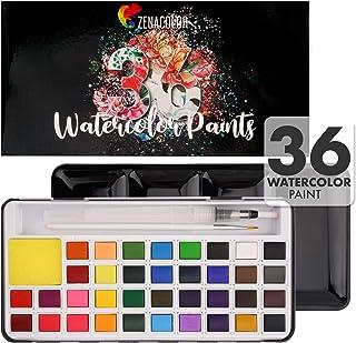 Zenacolor - 子供や芸術家のための水彩絵の具の36のセット - 絵筆とペイントペンが含まれています - 取り外し可能な容器とメタリックケース 非毒性塗料セット